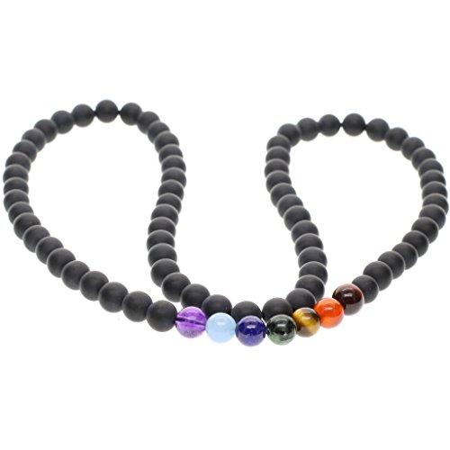 coai Geschenkideen Unisex Halskette aus 7 Chakra und Matt Onyx Edelstein Kette
