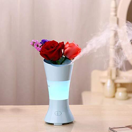 AIBAB Nueva Creativa Mini Hada De Flores Aromaterapia Humidificador Escritorio Arreglo De Flores Jarrón De Colores La Gran Capacidad del Purificador De Aire Silencioso De La Noche Dura 6 Horas,Blue