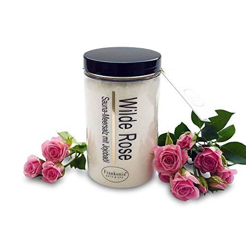 Sauna Salz Peeling – Wilde Rose 400g - Meersalz m. Jojobaöl Vitamin E Body Scrub – Dusch- und...