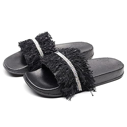 Sandalias planas con forma de almendra, con brida trasera en Gland, para mujer, Negro , 37 EU