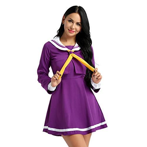 IEFIEL 4Pcs Déguisements Halloween Femme Marin Uniforme Cosplay Sailor Suit Anime Costume Femme Halloween Carnaval Fête Vêtements à Manches Longues S-XL Violet S