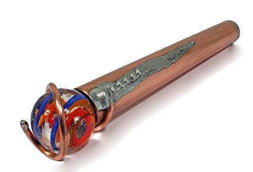 Schaepers Kaleidoskope / Handgearbeitet aus Kupfer / mit bunter Glaskugel 25mm / mit Klarlack gegen Oxydation geschützt / 17cm lang