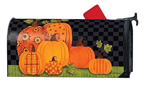 Mailwraps Studio M Patterned Pumpkins, Fall Halloween, The Original Magnetic Mailbox Cover, Made in USA, Superior Weather Durability, Standard Size fits 6.5W x 19L Inch Mailbox