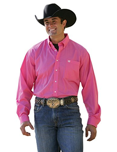 Cinch Men's Classic Fit Long Sleeve Button One Open Pocket Solid Basic Shirt, Pink, X-Large