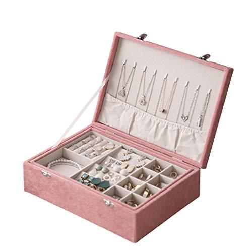 Liutao Schmuck-Box Retro Suede Tuch Double-Layer-Schmuck Storage Box europäische High-End-Ohrringe großen Kapazitäts-Schmuck-Box (Color : Pink)