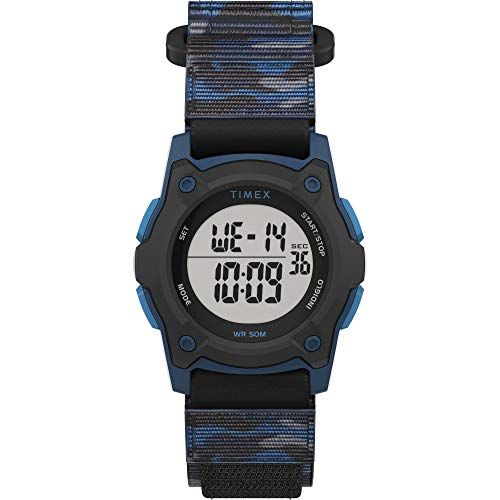 Timex Boys TW7C77400 Time Machines Digital Black/Blue Camouflage Fast Wrap Strap Watch