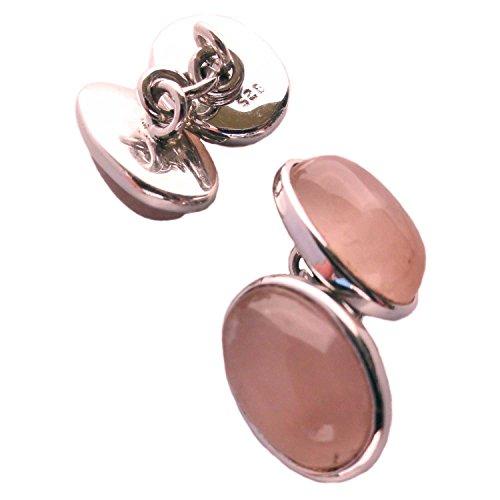 Bijoux et Objets - Boutons de Manchette Quartz Rose en Argent Massif - Dimensions des Pierres 10x14mm