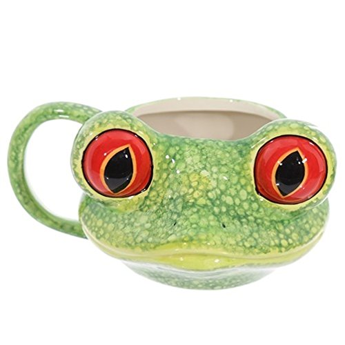 Pukinator Tasse für Frühstück aus Keramik in Form eines Froschkopfes mit großen Augen