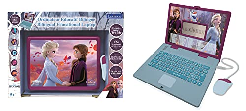 LEXIBOOK JC598FZi1 Disney Frozen 2-Educational and Bilingual Laptop French/English-Girls Toy with 124 Activities to Learn, Play Games and Music with Elsa & Anna-Blue/Purple