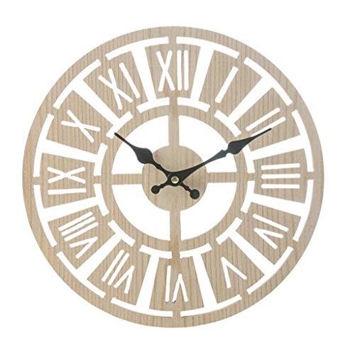 HYLX Reloj de Pared de Madera al Aire Libre, Reloj de Pared de jardín al Aire Libre Reloj de Pared Retro Reloj de Pared de jardín Interior al Aire Libre para jardín/Patio/Patio
