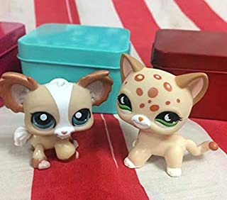 2Pcs/Lot Littlest Pet Shop LPS#852#1082 Chihuahua Dog &Tan Brown Spotted Cat