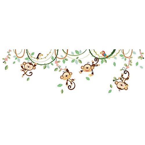 DECOWALL DW-1507S Monos en una Enredadera Vinilo Pegatinas Decorativas Adhesiva Pared Dormitorio Salón Guardería Habitación Infantiles Niños Bebés