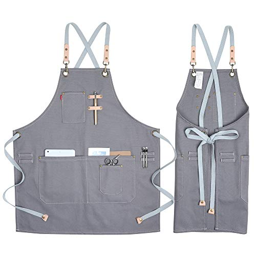 COOLYOUTH Cotton Apron for Men Women, Chef BBQ Grill Work Shop Aprons with Adjustable Strap (Grey)