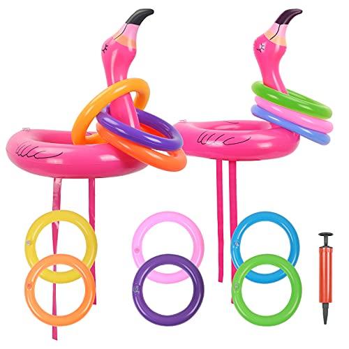 KATOOM Kits de Lanzamiento de Anillos, Lanzamiento de Flamencos Inflables, Sombreros de Fiesta con 12 Anillos y 1 Bomba de Aire, proyecto de Fiesta, al Aire Libre, Interior, Padres, Niños