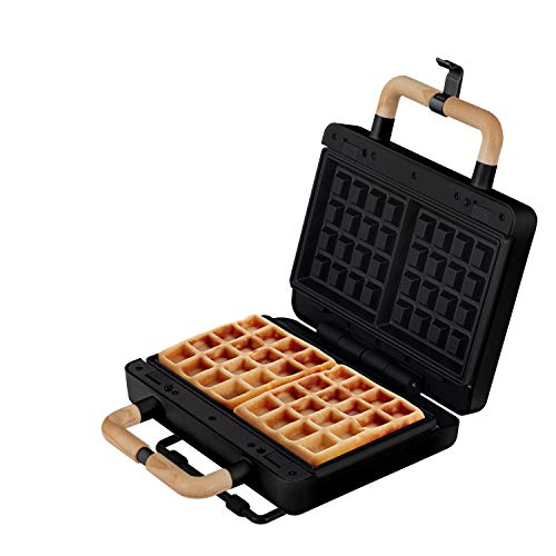 IKOHS Sandwichmaker Stone 3 in 1 Studio - Sandwichtoaster, Grill, auswechselbare Waffelplatte, 8000 W, Antihaftbeschichtung, Anti-Thermo-Griffe, Kabelaufwicklung, BPA-frei, für 2 Sanwiches (schwarz)