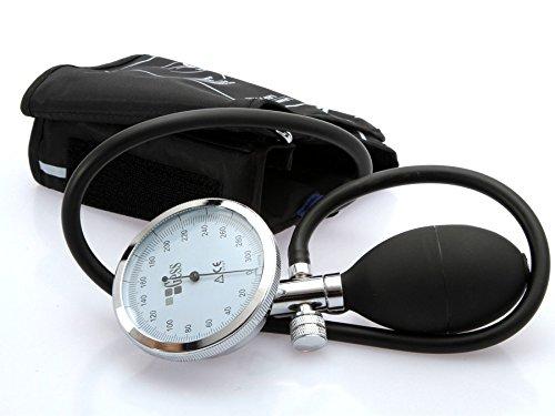 Gess - Esfigmomanómetro Tensiometro aneroide con manometro, pera y valvula integrado + estetoscopio