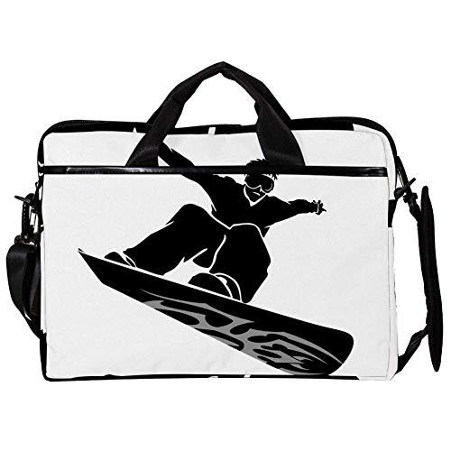 Kühles Jungen Skateboardfahren Laptop Tasche Umhängetasche Handtasche Leinwand 15-15.4 Zoll Computer Tasche für Business/Arbeit/Schule/Reisen 38x28cm