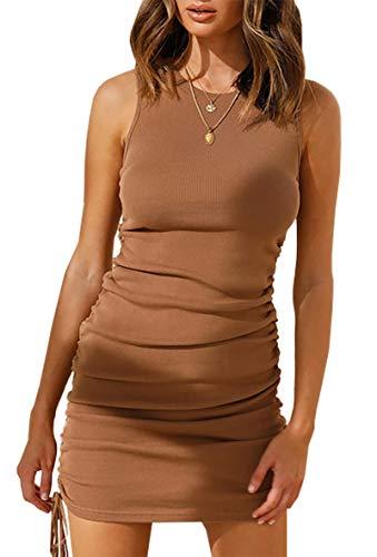 BIGH Vestido de verano para mujer, cuello redondo, informal, sin mangas, sexy, con cordón, dobladillo irregular, para fiestas. Marrón-3043 42