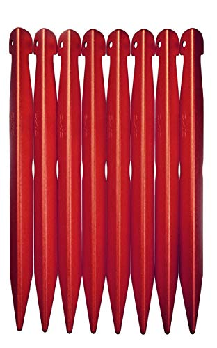 DAC V-Best Tent Stakes, 4 Sizes, Ultralight & Super-Strong, Performance Engineered by The Premier Tent Pole Maker, (S - 7x11mm, 4 Pack Fire Colored)
