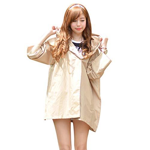 Regenmantel Poncho Regenbekleidung wiederverwendbar,Windjacke leicht und leicht zu trocknen wasserdicht atmungsaktiv Mantel Damen und Herren übergroßen Regenmantel wiederverwendbaren Poncho-Khaki