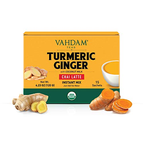VAHDAM, ORGANIC INSTANT Masala Chai Latte Premix - Turmeric Ginger (15 Sachets) | INSTANT Chai Tea Latte SUPERFOOD with Vegan Coconut Milk | Boosts Immunity, Great for Digestion | 45 Calories Only