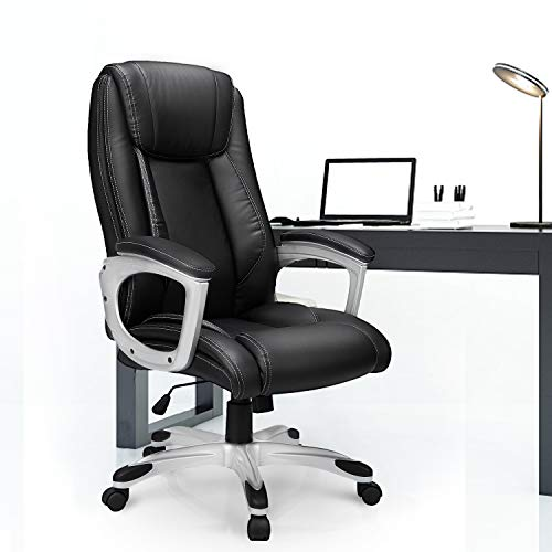YODOLLA Black High Back Office Chair with PU Leather, Adjustable Ergonomic Desk Chair with 360°Swivel Wheels, Executive Office Computer Chair with Lumbar Support