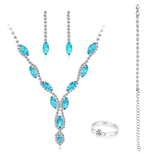 collar Conjunto de adornos de estilo coreano conjunto collar pendientes azul noble y elegante accesorios femeninos