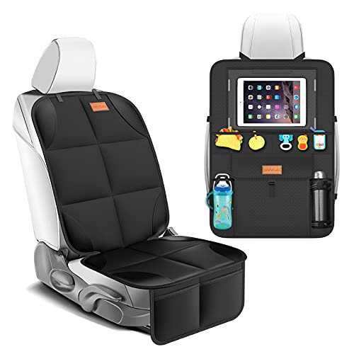 Smart eLf Car Seat Protector + Backseat Car Organizer Kick Mat, Large & Waterproof 600D Fabric Child Auto CarSeat Protectors Saver for Baby Sit with Storage Pockets for Leather and Fabric Car Seat