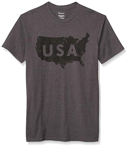 Hanes Men's Graphic Tee-Americana Collection, Primary Slate Heather, Large