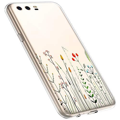 MoreChioce kompatibel mit Huawei P10 Hülle,Huawei P10 Handyhülle Blume,Ultra Dünn Transparent Weiche Silikon Schutzhülle Clear Crystal Rückschale Tasche Defender Bumper,Blumenzweig #1
