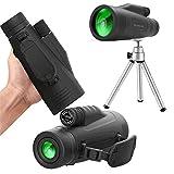 Hopeful Monoculares y telescopio de aumento de 12 × 50 para adultos visión nocturna, impermeable y antivaho con trípode de soporte, carpeta universal para teléfono móvil, paño de espejo,