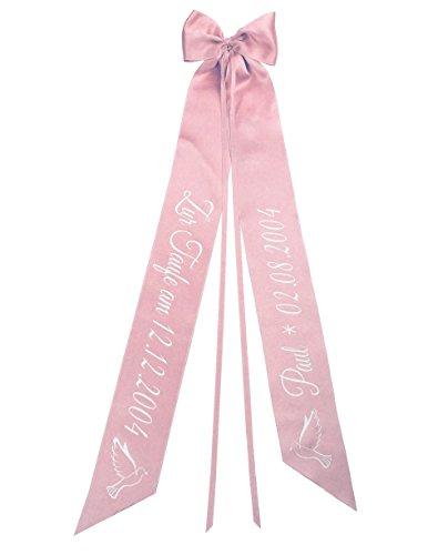 Elefantasie Taufschleife mit Taufdatum Namen und Geburtsdatum personalisiert Modell Taube rosa