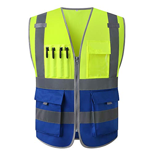 Hi Vis Safety Vest With Pockets And Zipper for Men and Women Unisex Reflective Waistcoat Lime Green Yellow and Blue (Large)
