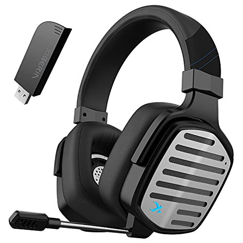 XIBERIA G02 Wireless Gaming Headset with Detachable Unidirectional Microphone Compatible for PC,PS4,PS5,2.4GHz Ultra-Low Latency,with 3D Surround Sound,Noise Cancelling MIC,Memory Foam Earmuffs