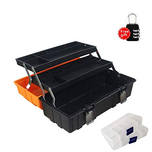 WEWLINE 17-Inch Tool Box Organizer 3-Layer Multiplication Plastic Storage Toolbox with Portable Handle Perfect for Home Office Car Trunk