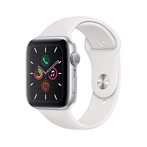Apple Watch Series 5 44mm (GPS) - Caja de aluminio plateado con correa deportiva blanca (renovado)