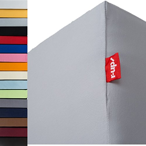 r-up Beste Spannbettlaken 140x200-160x220 bis 35cm Höhe viele Farben 95% Baumwolle / 5% Elastan 230g/m² Oeko-Tex stressfrei auch bei 160cm Breite (Silbergrau)