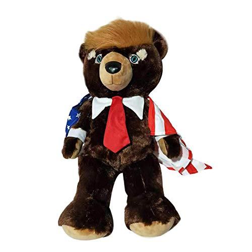 hemicala Bärenpuppe, Donald Trump Bär Kuscheltier Plüschtier Mit US Patriotische Flagge Kap Plüschtier Bär Puppe Spielzeug Lustige Dekoration Geschenk Für Familie Und Freunde