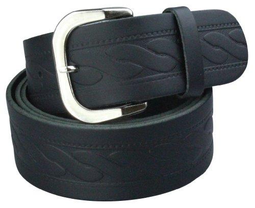 Alex Flittner Designs Echt Ledergürtel Herren in schwarz mit Zopfmuster 4cm breit | Bundweite 125cm = Gesamtlänge 140cm