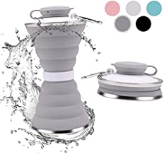 elegant design Silicone Collapsible Foldable Water Bottle with Leak Proof Lid BPA Free Expandable Water Bottle for Outdoor Travel Hiking Camping Cycling Gym 500 ml grey