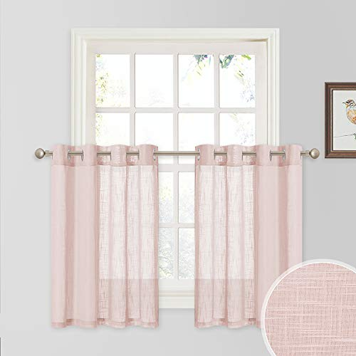 RYB HOME Half Window Curtains - Linen Textured Sheer Curtains Tiers, Short Draperies for Girls Nursery/Bathroom, Light Filtering Prevent Directly Sunlight Glare, 52 x 36 inches Each, 1 Pair, Pink