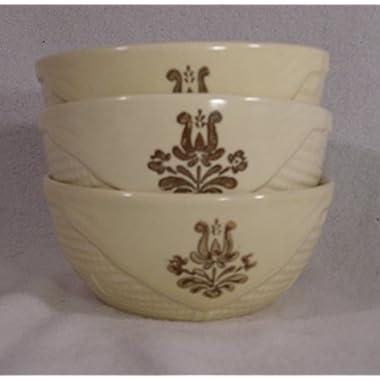 Pfaltzgraff Village Pattern Basket Shaped Bowls, Small 4.5  Diameter, Set of 3