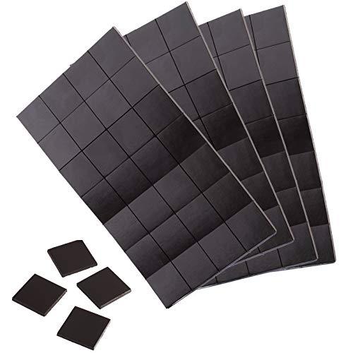 WINTEX 112 Plaquettes magnétique adhésives 20 mm x 20 mm x 2 mm, autoadhésives, Forte adhérence, en Noir