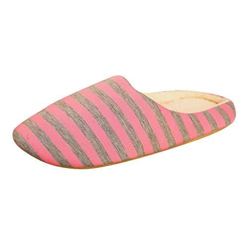 Linkay Hausschuhe Damen Memory Schaum Hausschuhe Weiche Plüsch Fleece Gefüttert rutschfeste Streifen Pantoffeln für Drinnen und Draußen (Rosa,40-41)