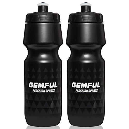 Cycling Water Bottle BPA Free 24oz 2 Pack (Black)