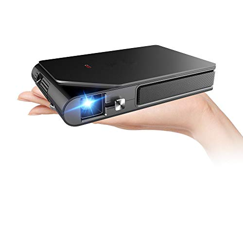 Mini Pocket WiFi Projector, 3600 Lumens Portable Wireless Projectors Support 1080P 3D Home Theater Outdoor with Battery Compatible with HDMI USB TV Stick Android iOS Smartphone PC Laptop DVD PS4