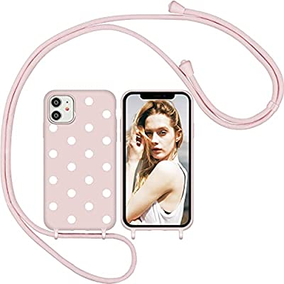 Funda Silicona con Cuerda para iPhone 11, Carcasa Suave Silicona Case con Correa Colgante Ajustable Collar Correa de Cuello Cadena Cordón (Oro Rosa 2)