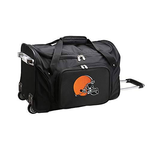Denco NFL Cleveland Browns Wheeled Duffel Bag, Black, 22 x 12 x 5.5'...
