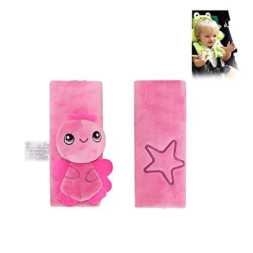 Sangle de siège d'auto pour bébé Housses ceinture Épaulières 2-Pack, sangle souple Couvre rose Ange Cartoon design poussette Coussin Porte-Ceinture d'épaule