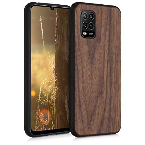 kwmobile Bumper Handyhülle kompatibel mit Xiaomi Mi 10 Lite (5G) - Holz Hülle Handy Hülle Cover Dunkelbraun